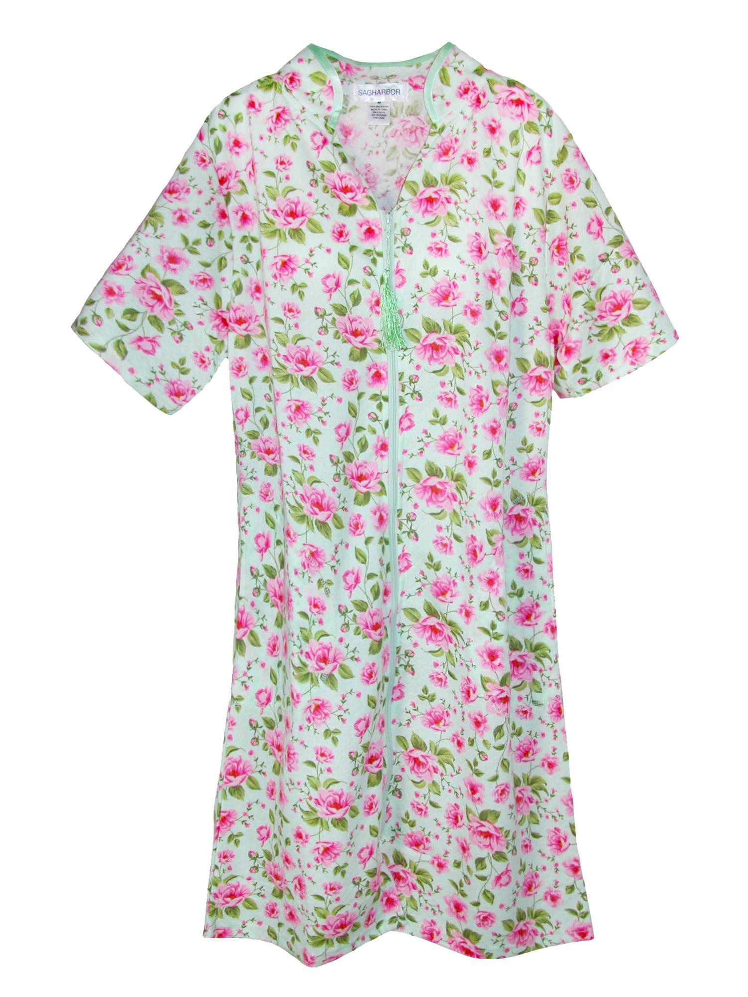 Sag Harbor Women's Short Sleeve Floral Zip Front Duster, Size: Large Pink