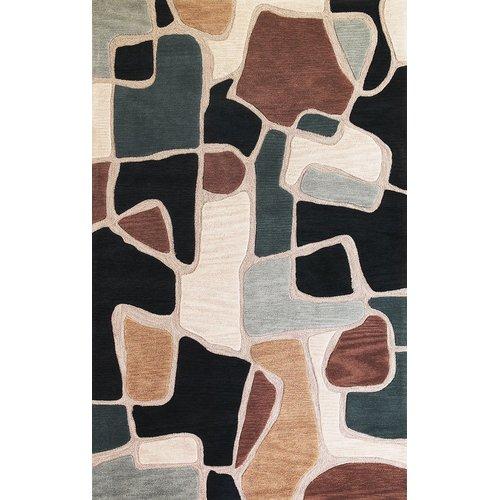 Latitude Run Carrara Beige/Blue Bedrock Rug