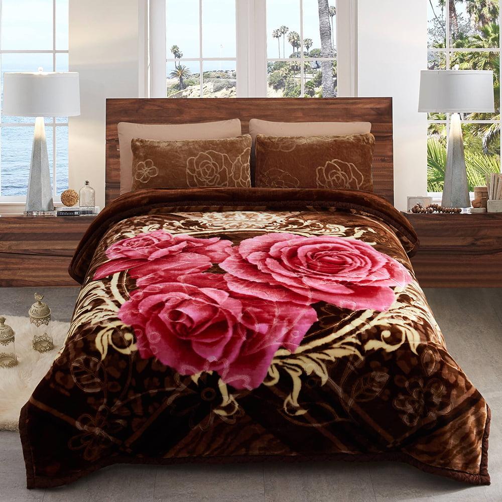 Heavy Korean Mink Plush King Size Fleece 10lb Blanket, Brown Roses - Walmart.com - Walmart.com