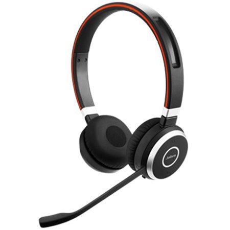 Refurbished Jabra Evolve 65 UC Duo Integrated Busy Light Wireless Headset w/ 100 Feet of Wireless - Ceramic Integrated Headset