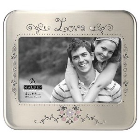 4x6 Love Serendipity Shiny Pewter Photo (Love Pewter Frame)