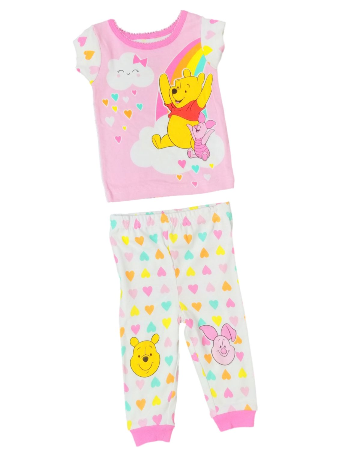 Disney Infant Girls Pink Winnie The Pooh Heart Sleeper Pajamas PJs Set 9M