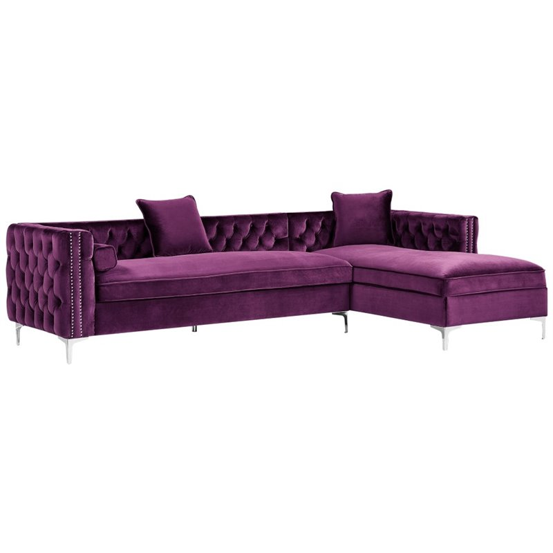 Levi Purple Velvet Chaise Sectional Sofa - 115 Inches Right Facing
