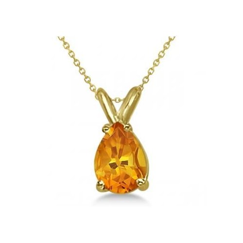 Seven Seas Jewelers Citrine Gemstone Pear Shaped Pendant Necklace in 14 Karat Yellow Gold with Matching Chain (1.00cw) by Brand New