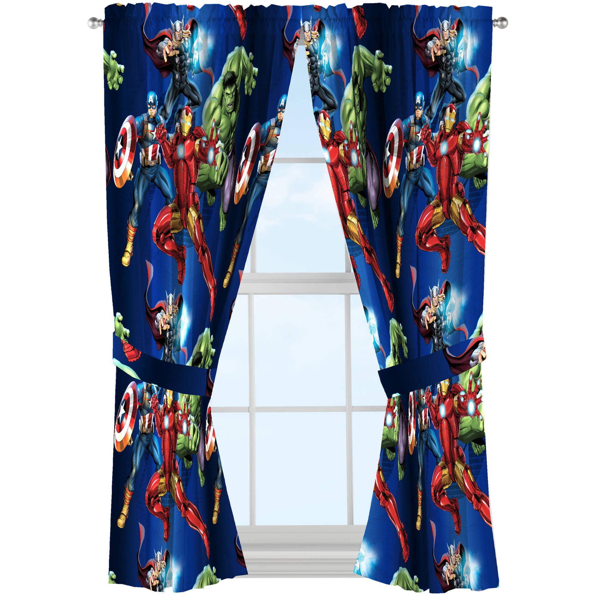 Marvel shower curtain - Marvel S Avengers Blue Circle Boys Bedroom Curtains Set Of 2 Walmart Com