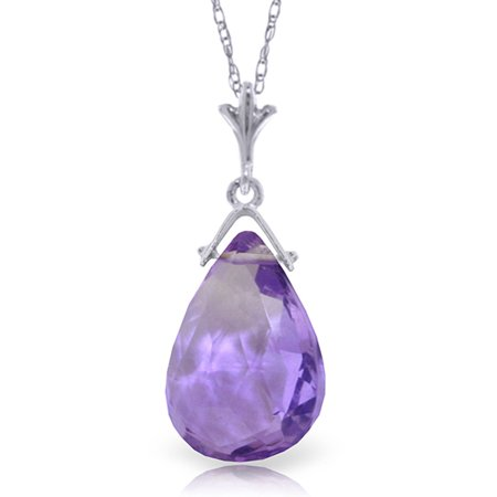 ALARRI 5.1 Carat 14K Solid White Gold North Wind Amethyst Necklace with 24 Inch Chain Length.