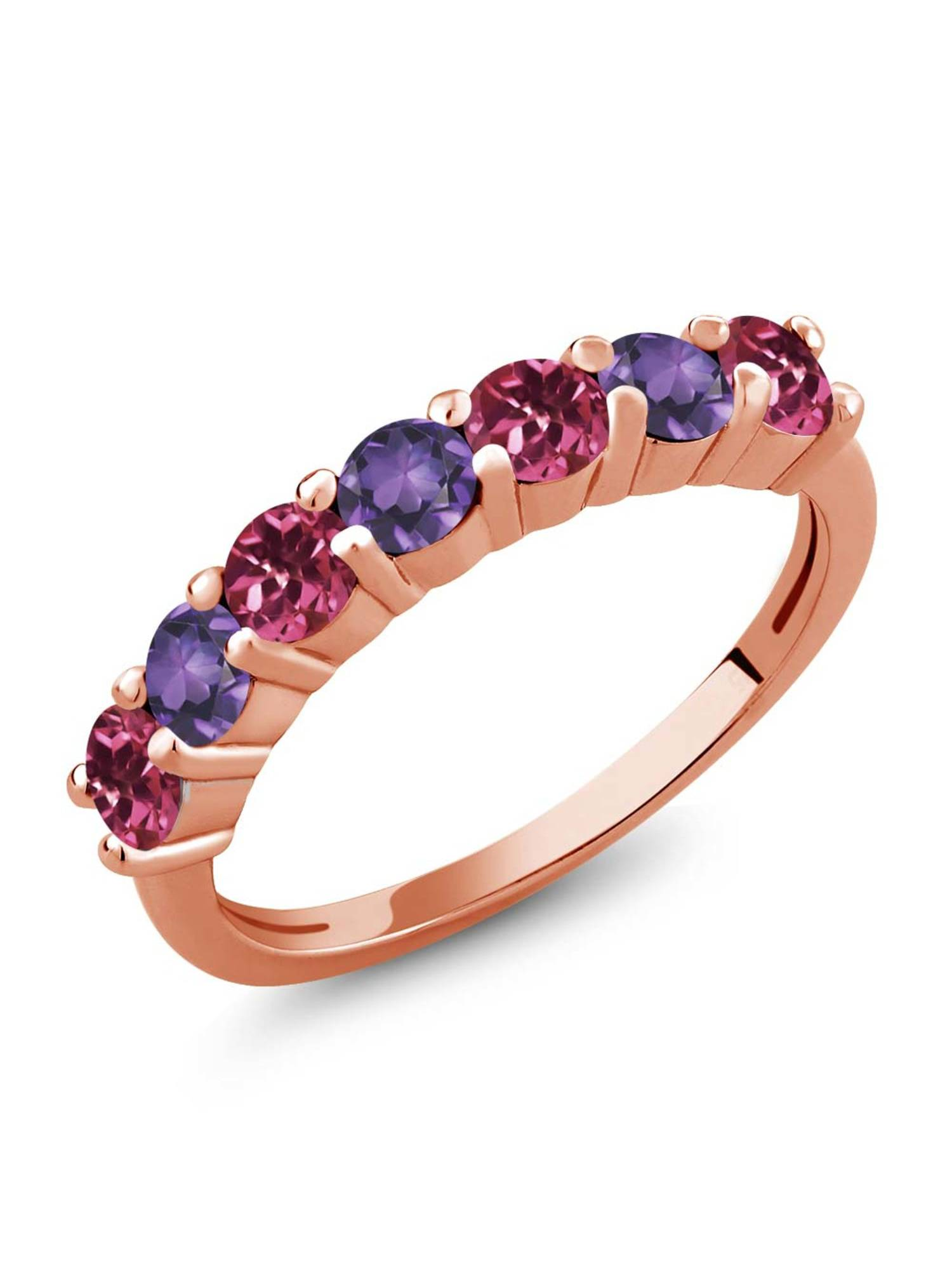 1.05 Ct Round Pink Tourmaline Purple Amethyst 18K Rose Gold Plated Silver Ring by