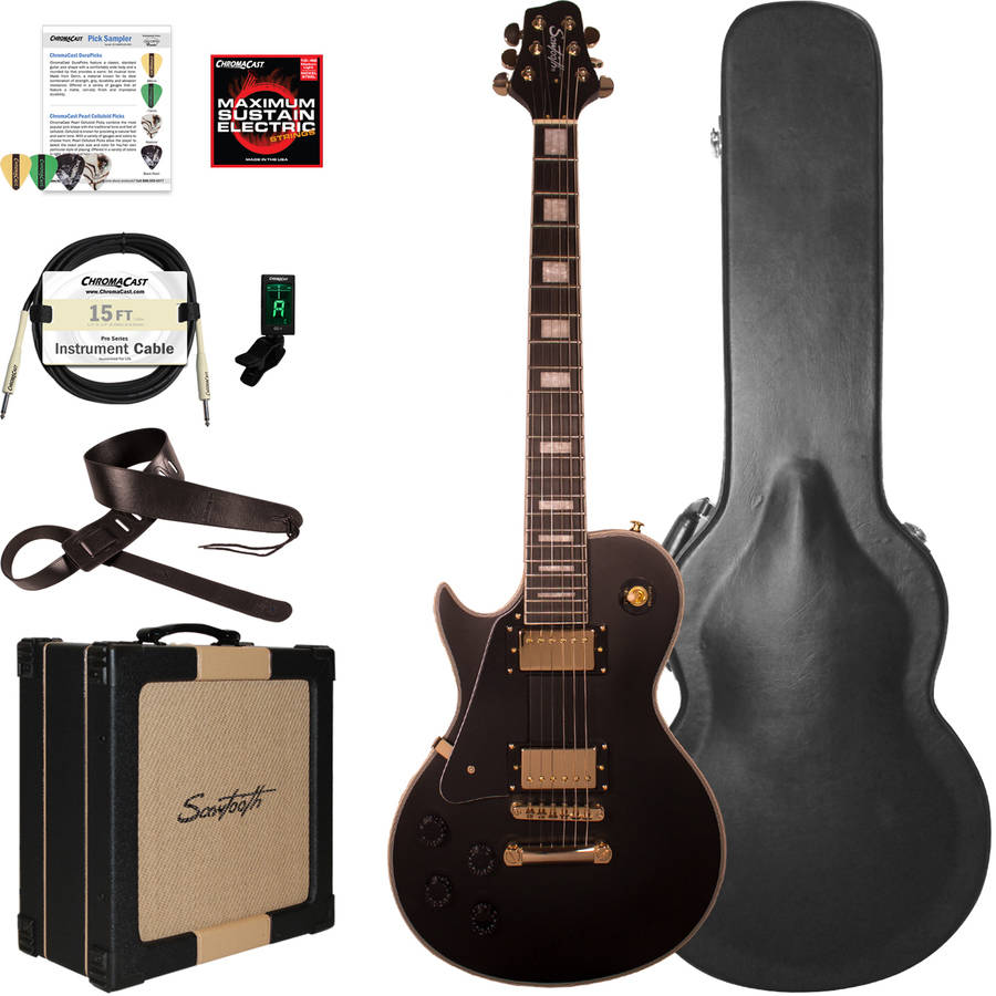 Sawtooth Heritage Series Left-Handed Maple Top Electric Guitar with ChromaCast Pro-Series LP Body Style Hard Case, 25W Amp and Accessories, Antique White (box 2 of 2)