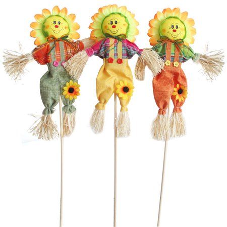 Halloween Porch Decorations Pinterest (Small Fall Harvest Scarecrow Decor, 3 Pack 19.7in Happy Halloween Decorations Scarecrow Halloween Decoration for Garden, Home, Yard, Porch, Thanksgiving Decor (50cm,)
