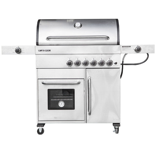 Barbeques Galore Captain Cook 5-burner Freestanding Gas Grill with Warmer