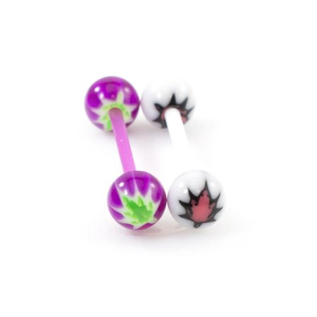 - Pot leaf Tongue Rings Barbell Flexible 14G 5/8