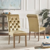 Weston Home Ali Velvet Tufted Rolled Back Parsons Chair with Oak Finish, Set of 2, Multiple Colors