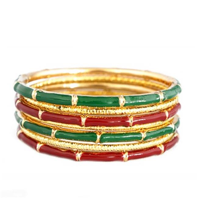 C Jewelry Red And Green Mixed Enamel Bamboo Design With Gold Textured Bangles, Set Of 7 Pieces