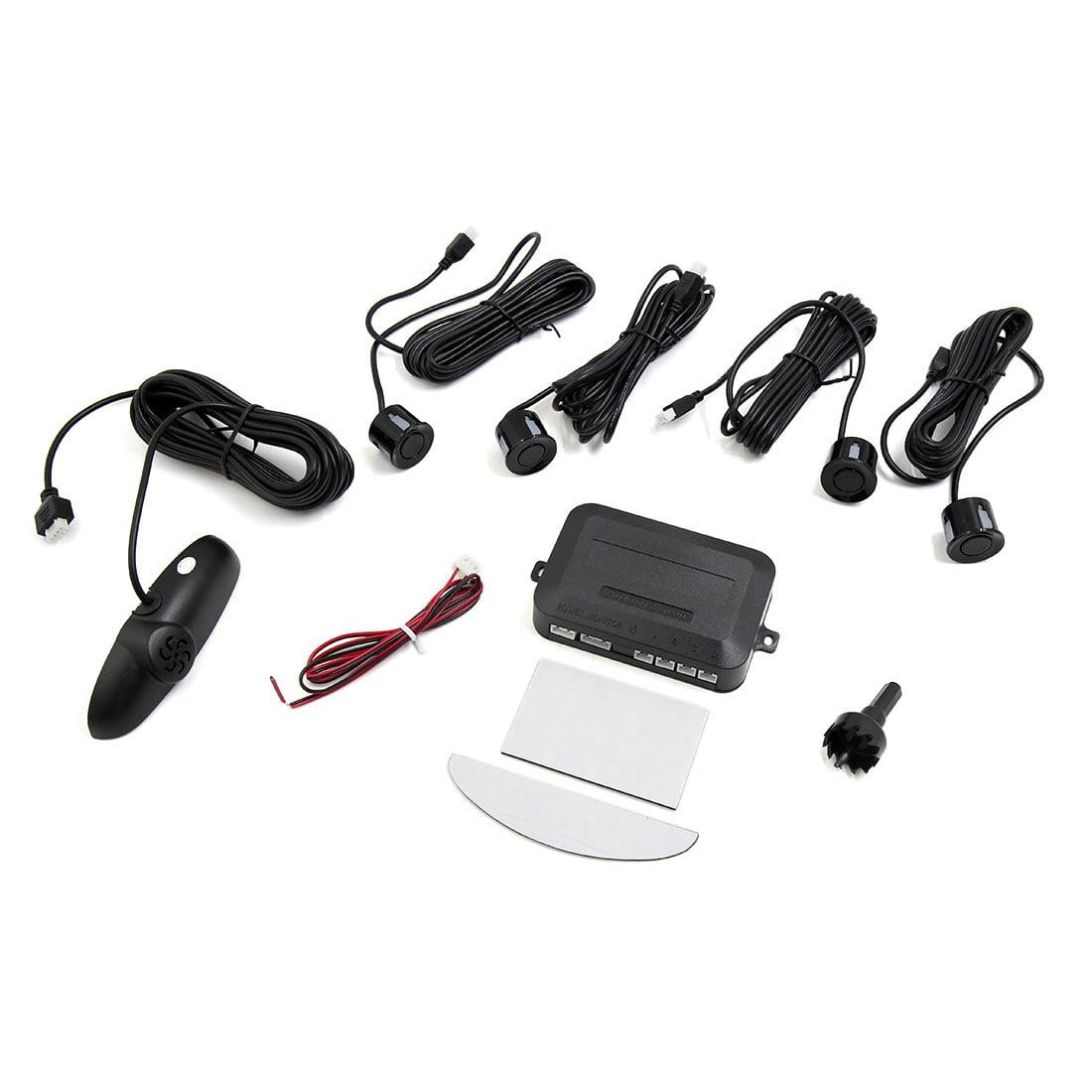 4 Parking Sensors LED Display Car Backup Reverse Detector Sound Alert Kit Black
