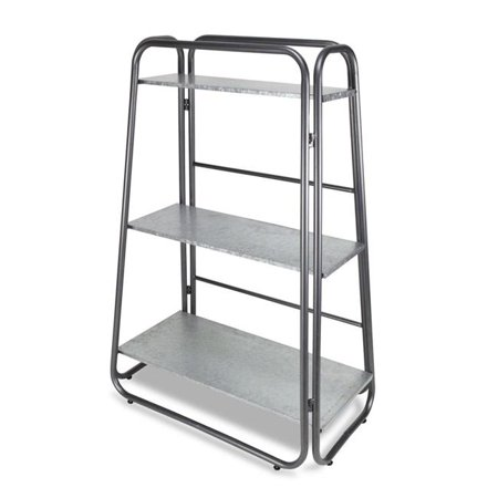 Cheungs 5341 Tall, 3 Tier, Folding Metal Shelf with Galvanied Metal Shelves & A Steel (3 Tier Folding Shelf)