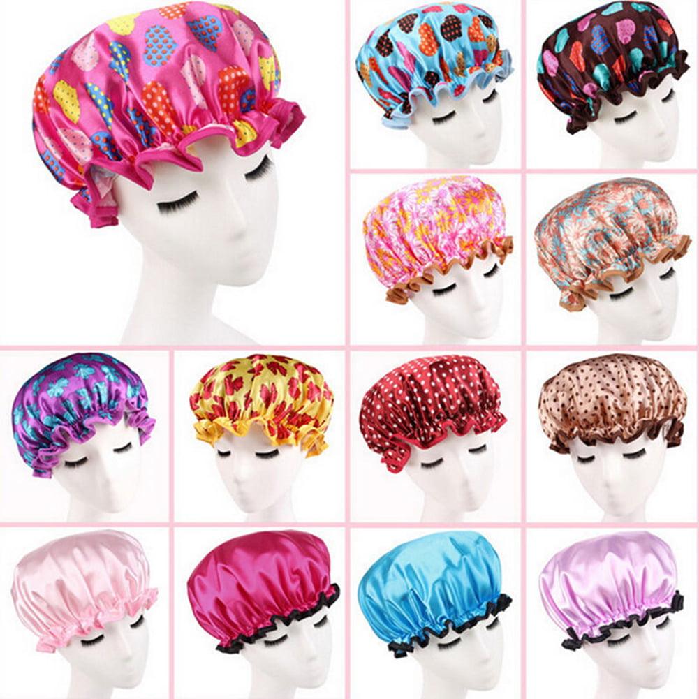 Women Waterproof Polka Dot Flower Hair Cover Colorful Bath Bathing Shower Cap
