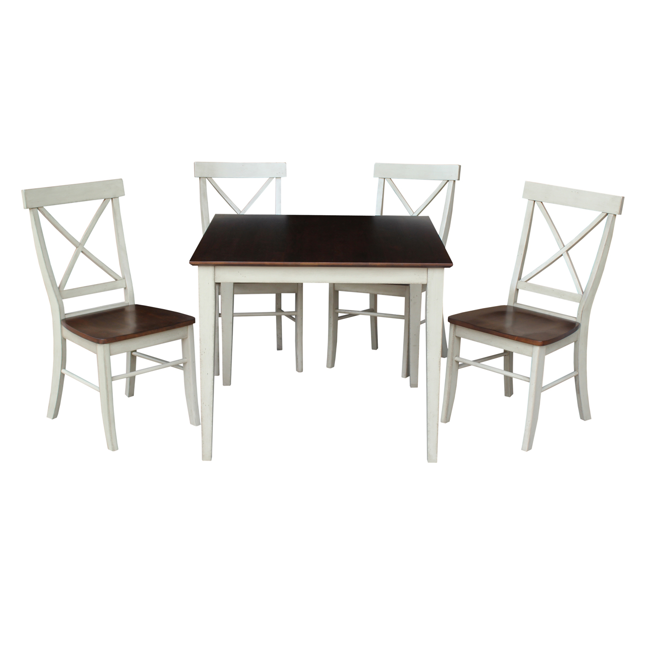 """36"""" Square Dining Table with 4 X-back Chairs in Antiqued Almond/Espresso - 5 Piece Set"""