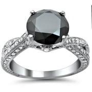 Noori Collection Noori 14k White Gold 2 4/5ct TDW Black Round-cut Diamond Engagement Ring