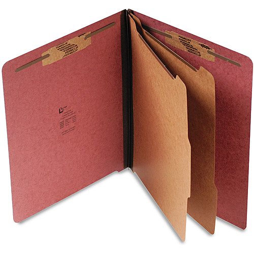 S J Paper Pressboard End Tab Classification Folder, Letter, Six-Section, Red