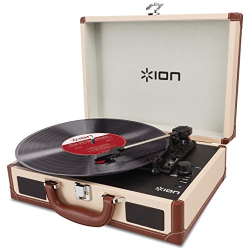 ION Audio Vinyl Motion Deluxe | Portable 3-Speed Belt-Drive Suitcase Turntable with Built-In Speakers (Cream-Leather Styling)