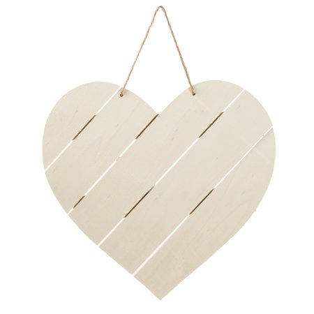 Wood Pallet Decor: Unfinished Large Heart with Jute Hanger Laras Wood Heart