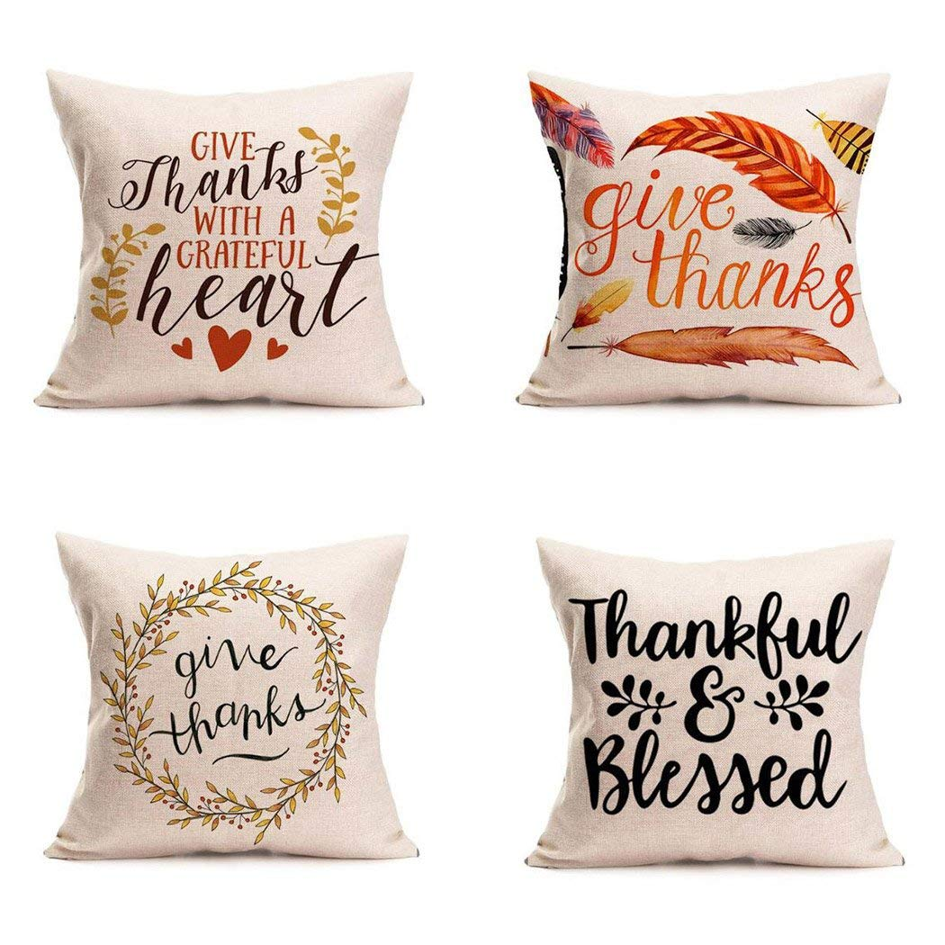 Happy Thanksgiving Day Pillow Covers 4 Pack Fall Decor Cotton Linen Give Thanks Sofa Throw Pillow Case Cushion Covers 18 X 18 Inch Walmart Com Walmart Com