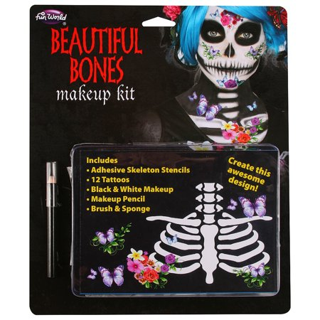 Crazy Face Halloween Makeup (Beautiful Bones Halloween Makeup)