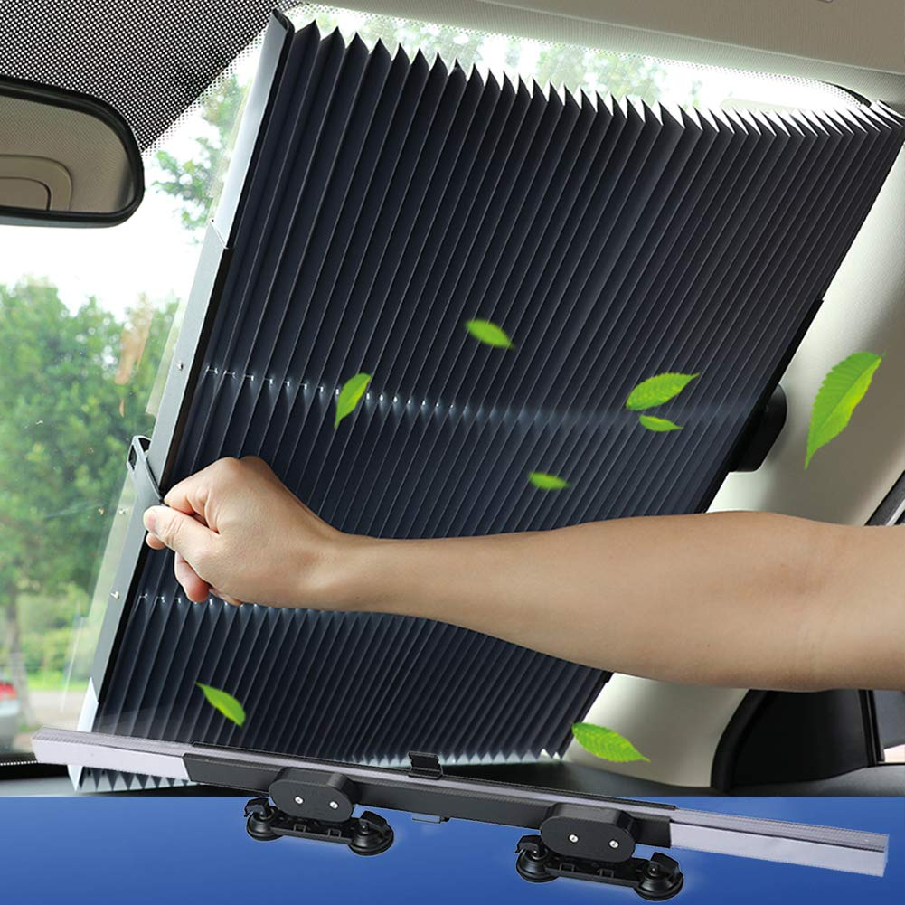 Front Car Window Shade VISLONE Car Window Shade Front Side Universal Window Sun Shade Cover Breathable Car Curtains 2 Packs