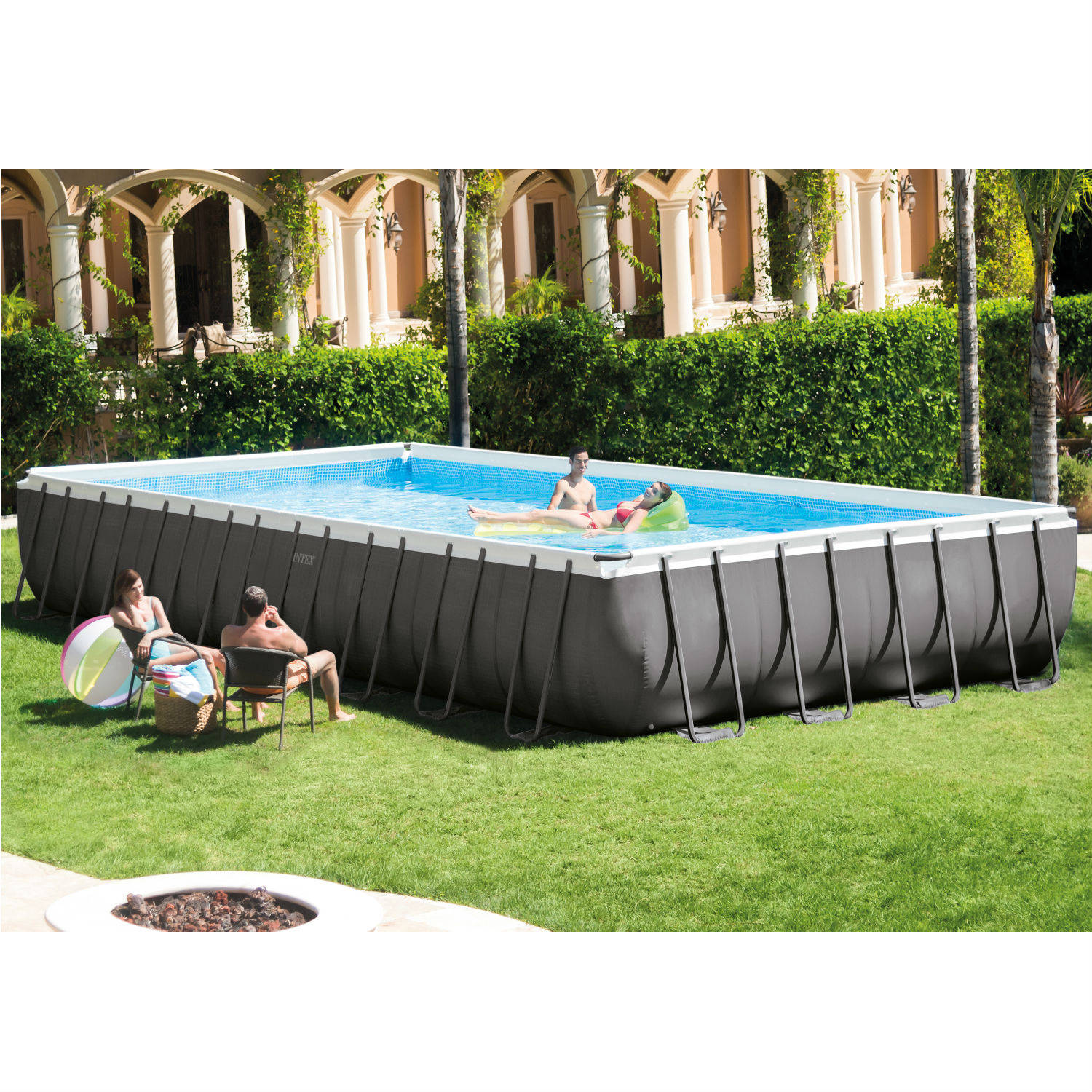 "Intex 32' x 16' x 52"" Ultra Frame Rectangular Above Ground Swimming Pool with Sand Filter Pump"
