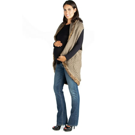 Faux Fur Trimmed Sleeveless Maternity Circle Sweater - Maternity Christmas Sweaters