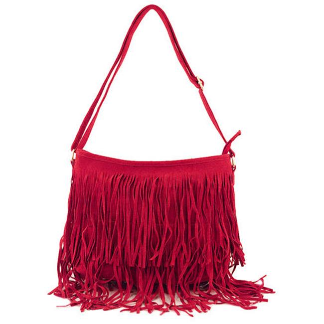 Cathrine Lillywhite GC1561RD Red Fringe Hobo Bag - 10 x 15 inch