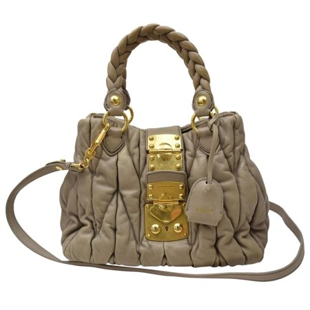 Miu Miu Patent Leather - Beige/Mauve Quilted 2way Tote 866513 Beige Patent Leather Shoulder Bag