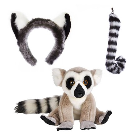 Wildlife Tree Stuffed Plush Ring-Tailed Lemur Ears Headband and Tail Set with Baby Plush Toy Lemur Bundle for Pretend Play Animals Dressup (Wolf Ears And Tail Costume)