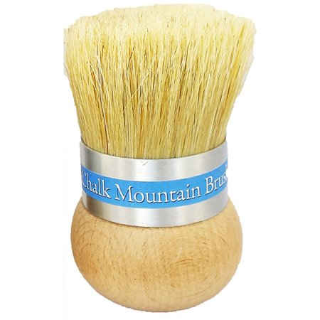 Original Chalk (ORIGINAL DESIGN by Chalk Mountain Brushes & Waxes - LARGE Palm Wax, upholstery &/or Stencil Boar Hair Bristle Brush. Designed for maximum comfort; Perfect for Arthritic)