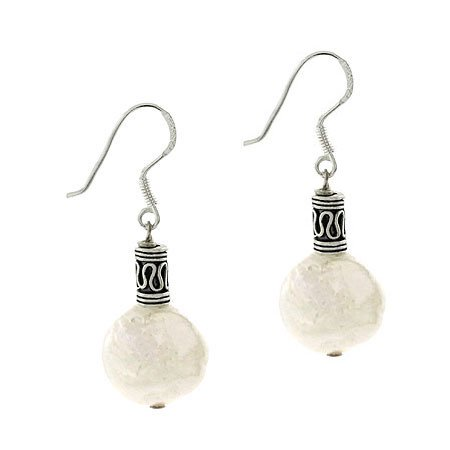 Sterling Silver Freshwater Cultured White Coin Pearl & Bali Bead Earrings