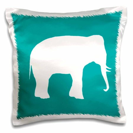 3dRose White elephant silhouette. Teal turquoise aqua blue wildlife animal, Pillow Case, 16 by 16-inch