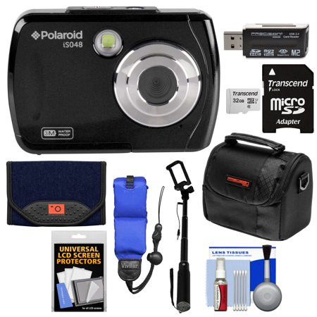 Polaroid iS048 Waterproof Digital Camera (Black) with 32GB Card + Case + Selfie Stick + Float Strap + Cleaning