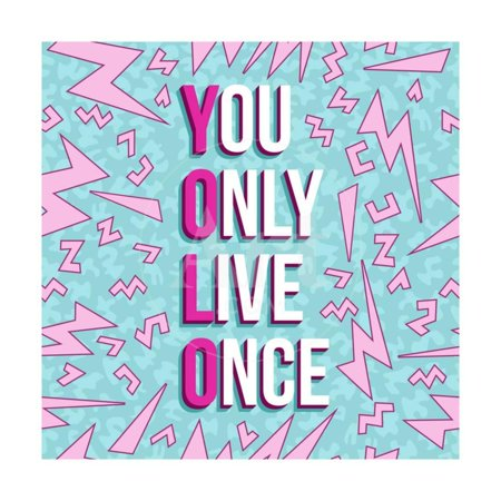80s Cool Art - Yolo on 80s Background Print Wall Art By cienpies