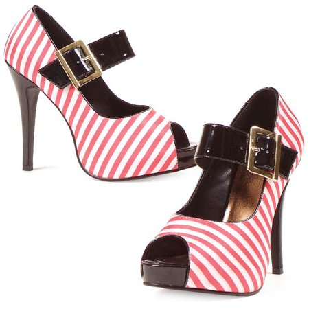 Red and White Striped Wench Shoes - Wench Shoes