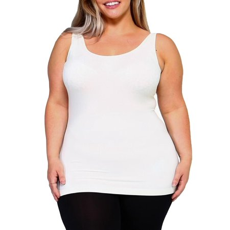 MOA COLLECTION Women's Plus One Size Solid Casual Comfy Lightweight Seamless Fit Tank Top Tee ()