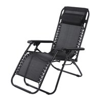 Tebru Outdoor Lounge, Portable Folding Outdoor Camping Lounge Beach Garden Recliner Reclining Chair with Armrest, Beach Lounge