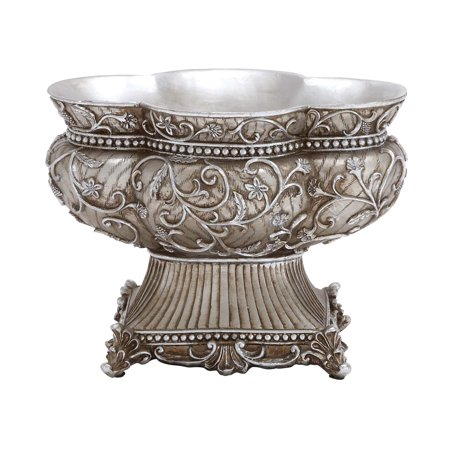 - Decorative  Bowl Intricate Floral Detailing Matte Silver Dining Decor 20949