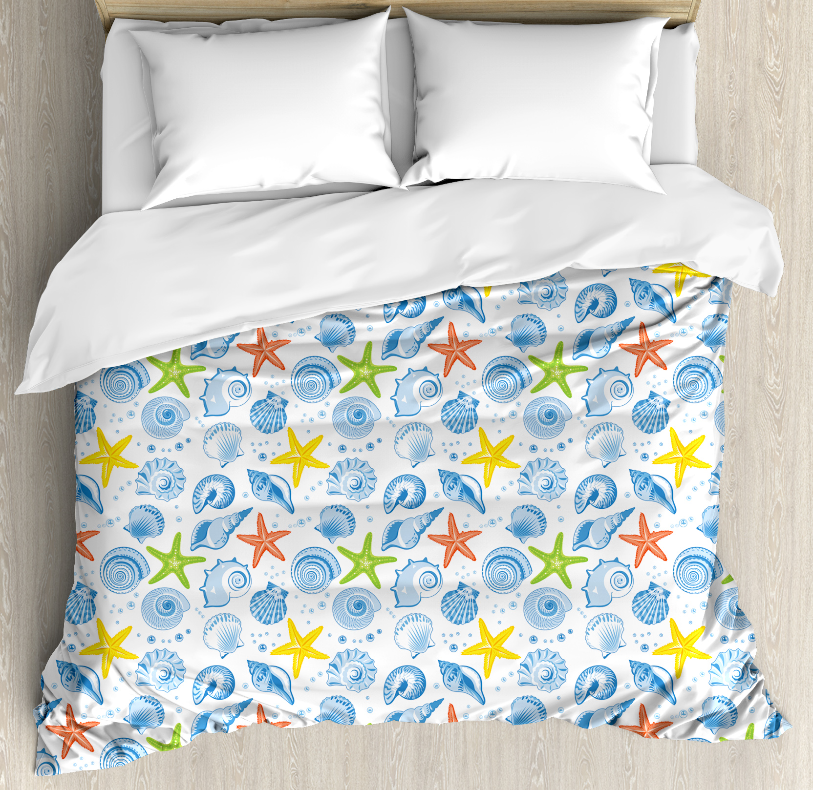 Nautical Duvet Cover Set, Marine Themed Starfish Mollusk Coral Reef Shells Oyster Underwater Design, Decorative Bedding Set with Pillow Shams, Blue and Yellow, by Ambesonne