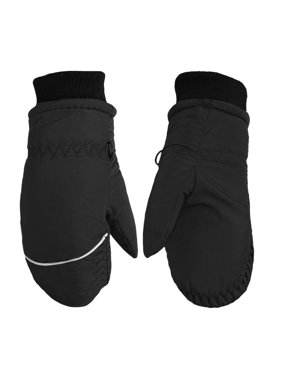 Children Toddlers Fleece Lined Ski Winter Waterproof Windproof Mittens Gloves | Assorted Colors (Black)