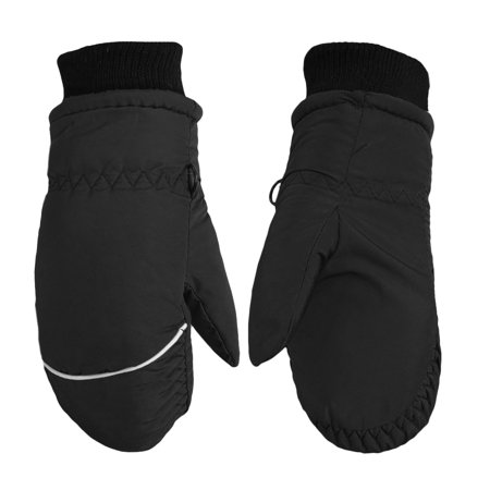 Children Toddlers Fleece Lined Ski Winter Waterproof Windproof Mittens Gloves | Assorted Colors (Black)