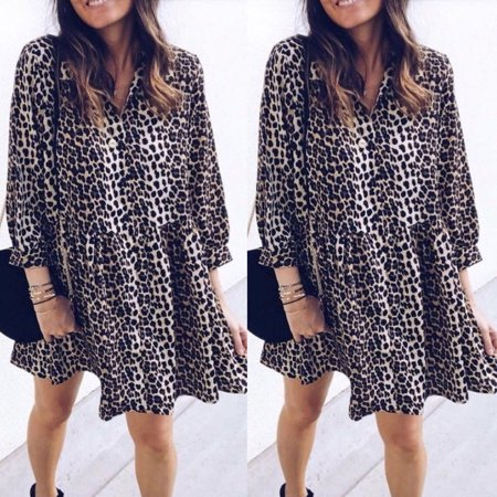- Women Casual Long Sleeve Leopard Printed Short Mini Dress Cocktail Party Dress Size S