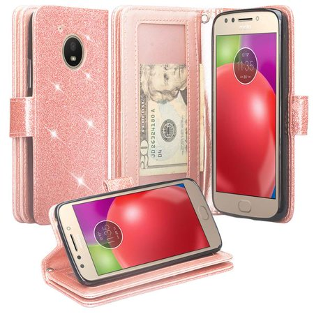Motorola Moto E4 Case, [Wrist Strap] Glitter Faux Leather Flip [Kickstand Feature] Protective Wallet Case Cover Clutch - Rose (Faceplate Motorola Clutch)