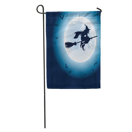 LADDKE Silhouette Witch Flying Over The Moon Halloween Bat Spooky Evil Garden Flag Decorative Flag House Banner 12x18 inch (Halloween Witch Silhouette)