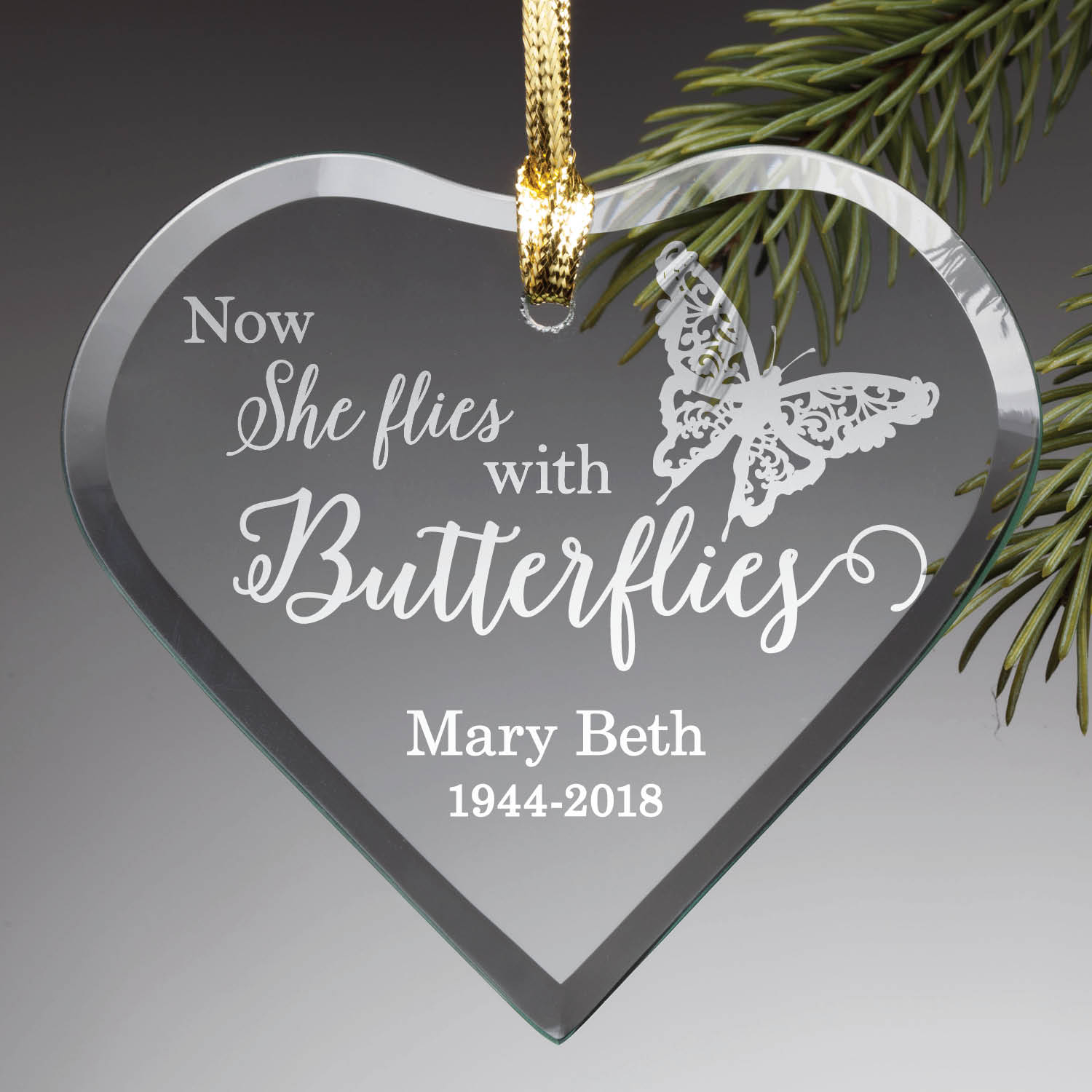 """Now She Flies With Butterflies"" Personalized Glass Ornament"