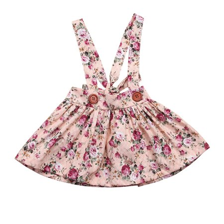 Newborn Toddler Baby Girl Floral Party Princess Bib Strap Skirt Dress Clothes  Pink 0-6 Months](Newborn Baby Girl Party Dresses)